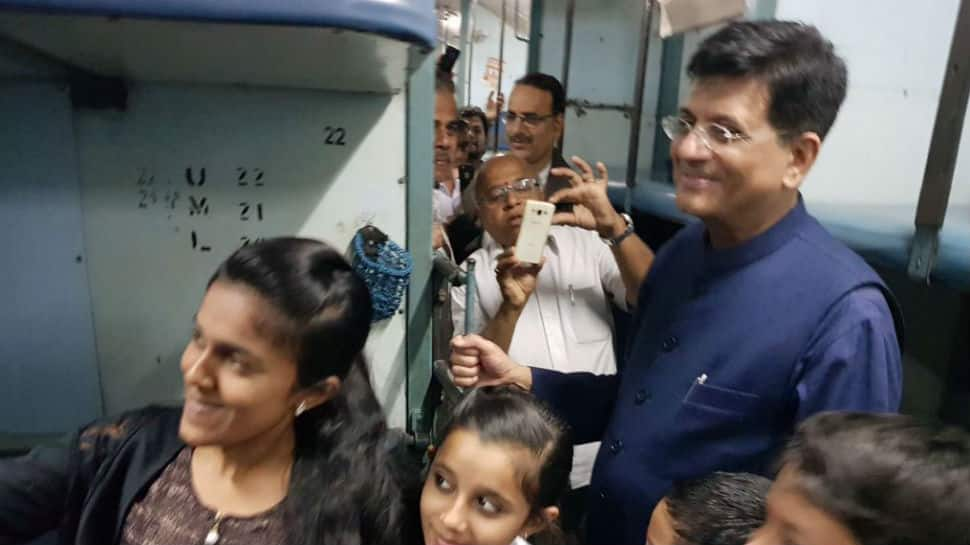 Piyush Goyal travels in Kaveri Express train, meets passengers to know their plight