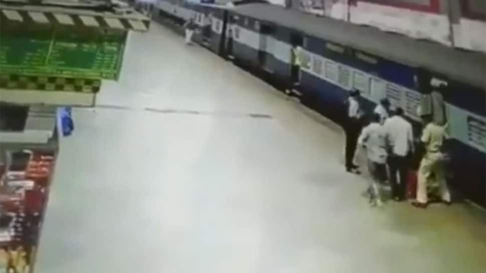 WATCH: Woman falls off train while boarding in Mumbai, RPF personnel saves her life