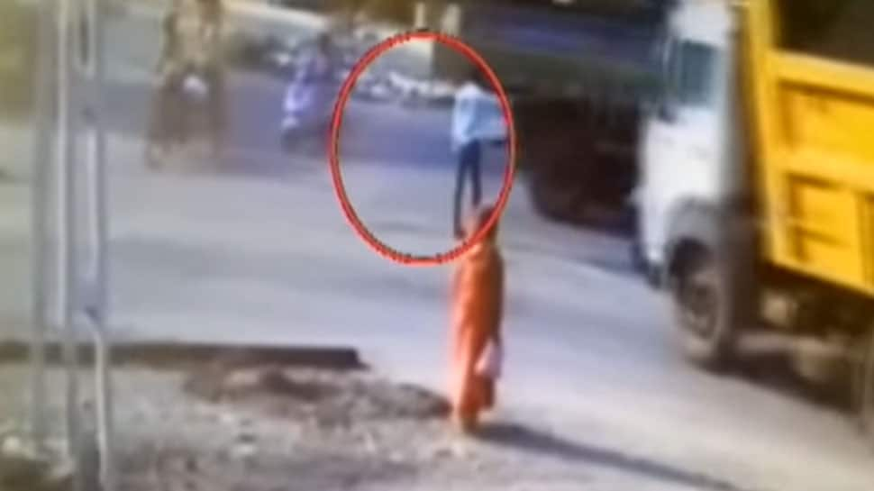 Watch: Man hit by truck in Gujarat's Godhra has a miraculous escape