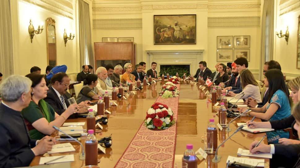 PM Justin Trudeau, PM Narendra Modi discuss terror; India, Canada ink six pacts