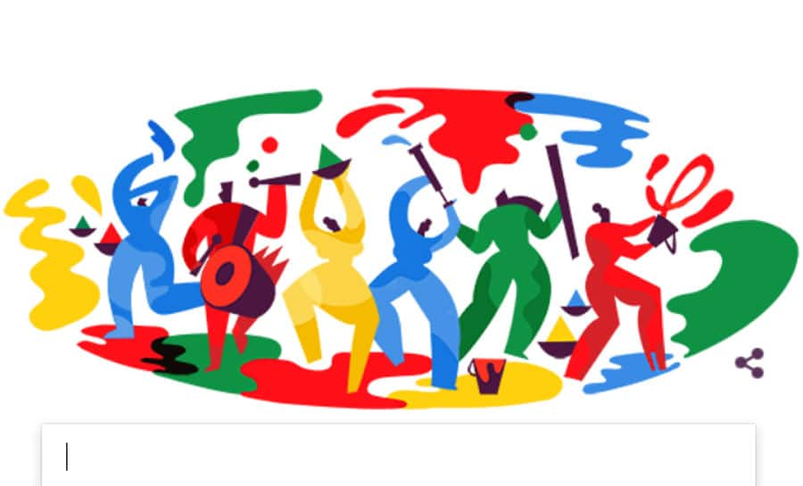 Google marks festival of Holi with colourful doodle