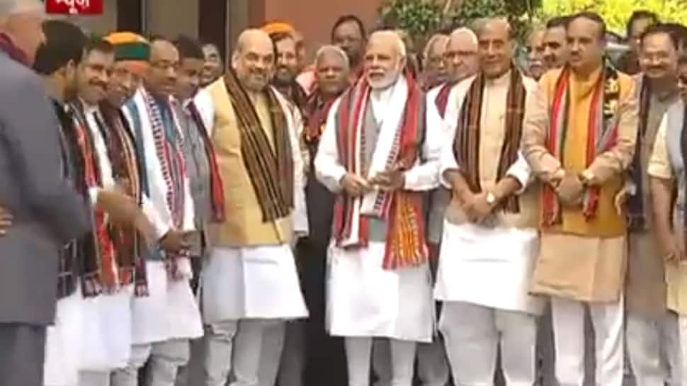 Watch: BJP MPs felicitate PM Narendra Modi, Amit Shah in Parliament for Assembly polls victory