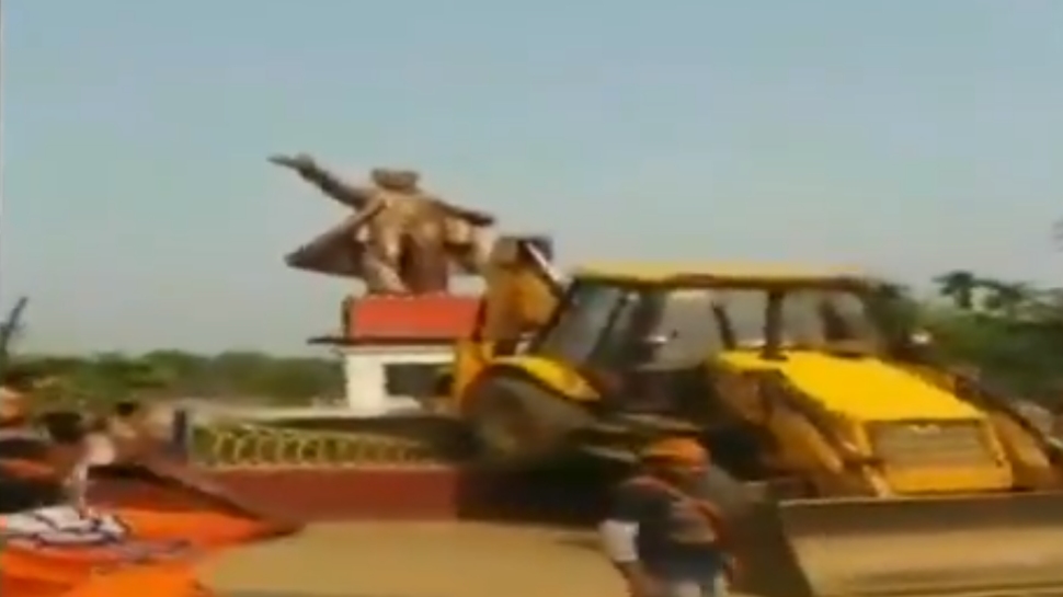 Watch: Lenin statue bulldozed in Tripura after Left's poll debacle