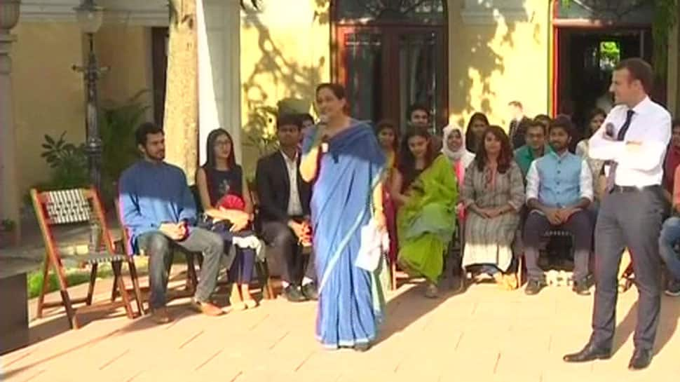President Emmanuel Macron interacts with students in Delhi, invites them to come to France