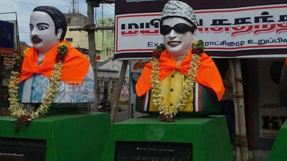Saffron cloth tied to busts of former Tamil Nadu CMs Annadurai, MG Ramachandran