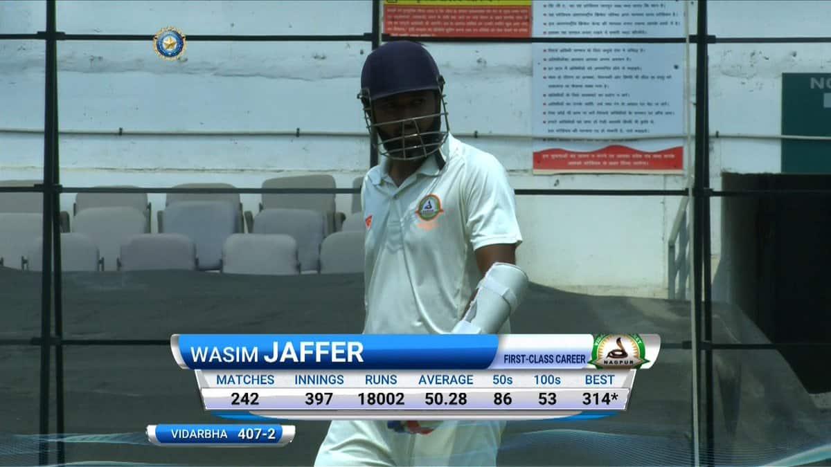 Wasim Jaffer misses triple ton but Vidarbha declare on 702 on rain-hit day