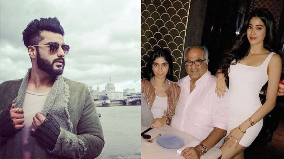 Boney Kapoor visits Arjun Kapoor with daughters Janhvi and Khushi