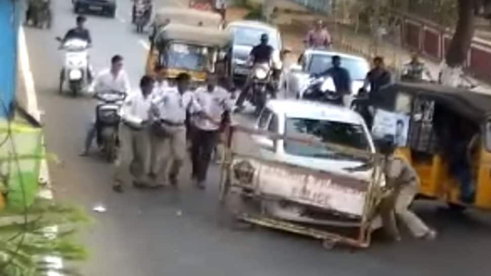 Caught on camera: Drunk driver mows down Kakinada policeman in getaway bid