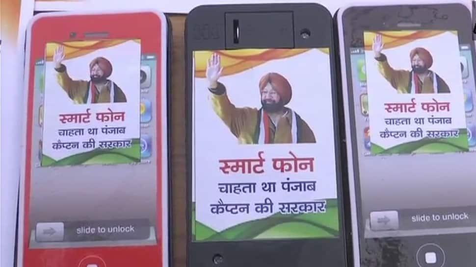SAD members distribute 'smartphones' on behalf of CM Amarinder Singh