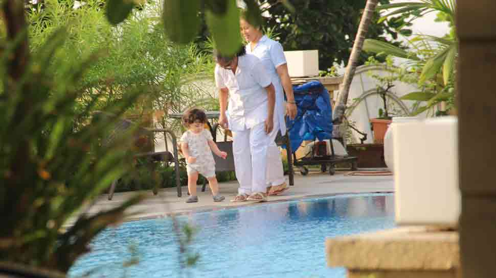 Taimur Ali Khan enjoys by the pool as daddy Saif Ali Khan gets acquitted in blackbuck poaching case  — Pics inside