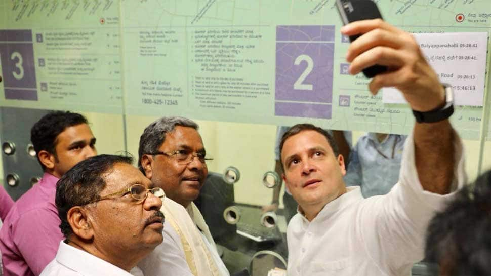 Rahul Gandhi goes on selfie spree with riders in Namma Metro on 6th leg of campaigning in Bengaluru