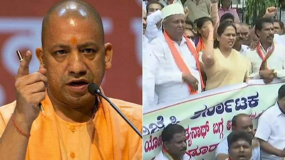 BJP protests in Bengaluru as Karnataka Congress chief calls Adityanath 'disgrace to Indian politics'