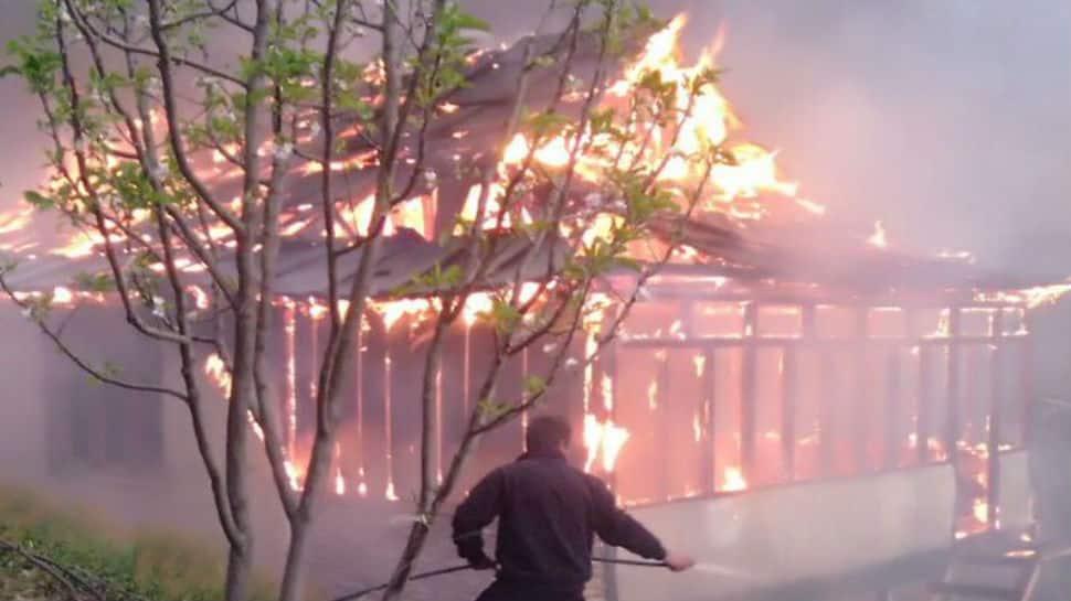 Shocking photos: Fire brings down two-storied mountain house near Shimla