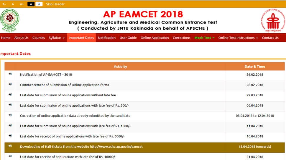 Check sche.ap.gov.in for AP EAMCET 2018 admit cards: How to download AP EAMCET 2018 admit cards today