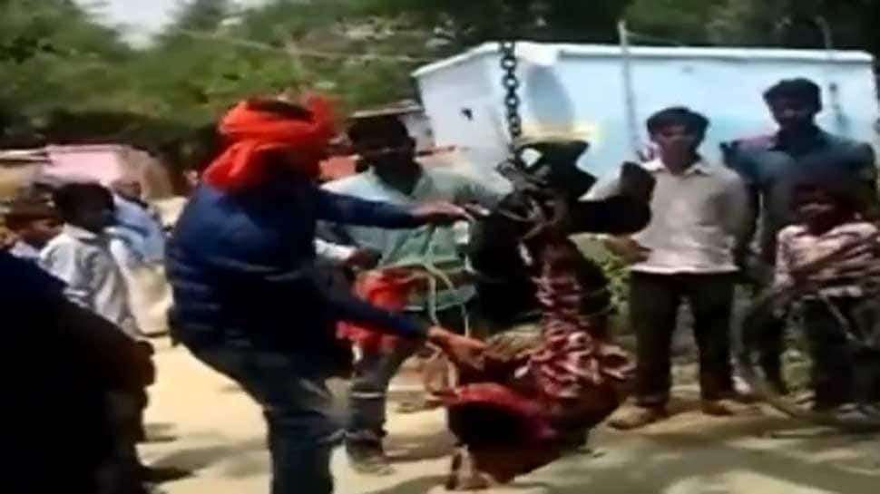 Caught on camera: Man thrashed, hung upside down for stealing cellphone in Bihar