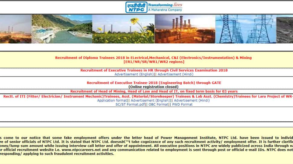 NTPC calls applications for recruitment of Diploma Trainees 2018 in Electrical, Mechanical, C and I and Mining