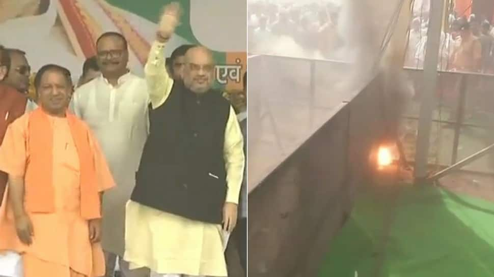 Fire breaks out at BJP rally in Raebareli, Amit Shah, UP CM Yogi Adityanath present on dais