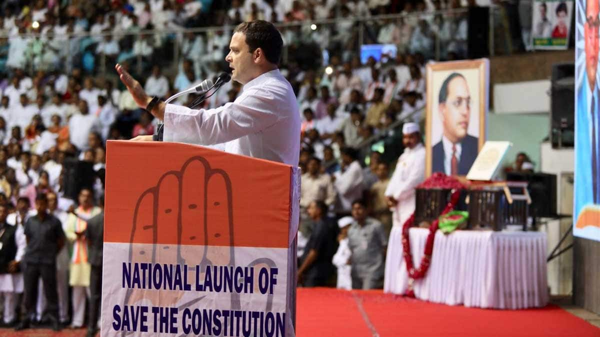 Rahul Gandhi launches 'Save The Constitution' campaign at Delhi's Talkatora Stadium