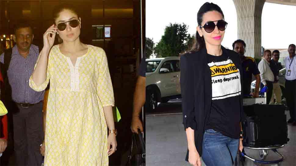 Kareena repeats her yellow kurta for airport visit, Karisma looks like a million bucks  — Check photos