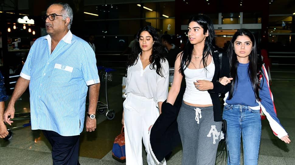 Janhvi, Khushi and Boney Kapoor reach Delhi to receive Sridevi's National Film Award—Photos