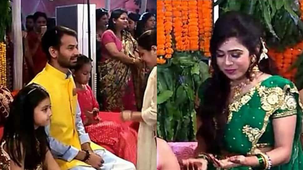 Tej Pratap Yadav-Aishwarya Rai's lavish mehendi ceremony: Groom shines in yellow, bride gushes in green | In Pics