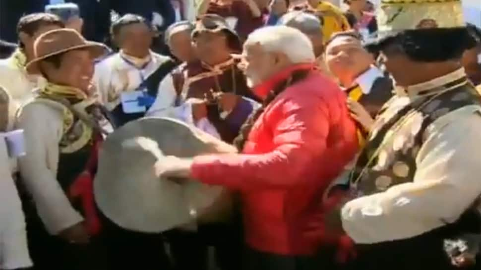 PM Narendra Modi plays traditional drums in Muktinath temple in Nepal - Watch