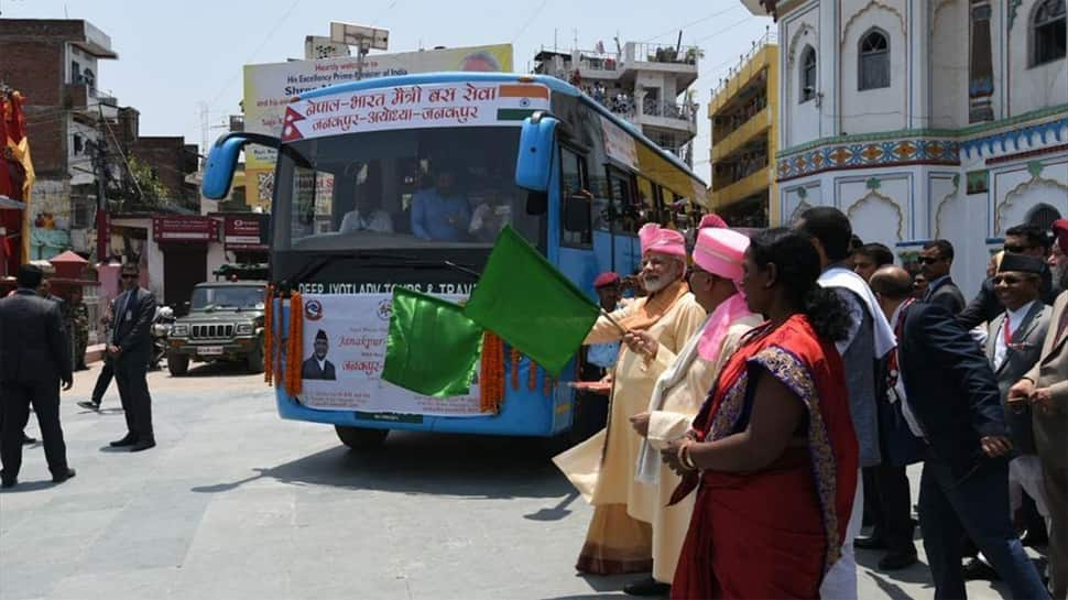 In Ayodhya, UP CM Adityanath receives bus flagged off by PM Modi in Janakpur in Nepal