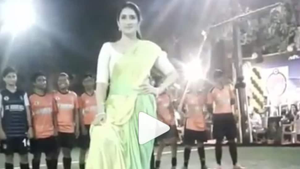 Zaheer Khan's better half Sagarika Ghatge plays football in saree, video goes viral-Watch