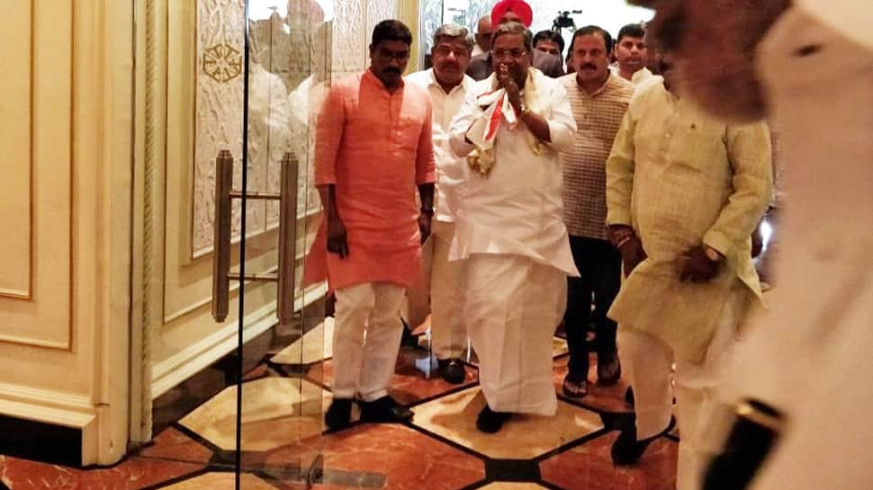 Siddaramaiah meets Congress MLAs in Hyderabad before crucial trust vote on Saturday