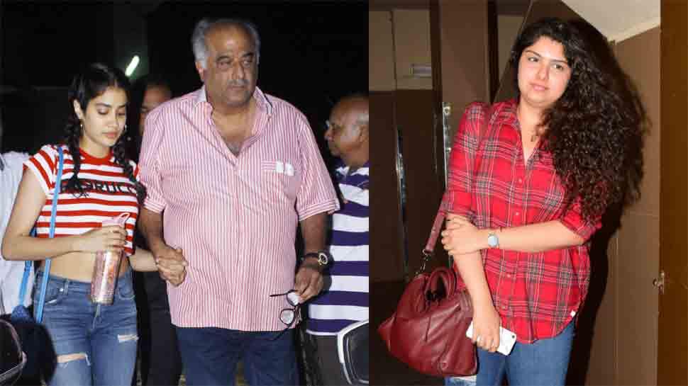 Janhvi Kapoor, Anshula enjoy movie time with daddy Boney Kapoor: In Pics