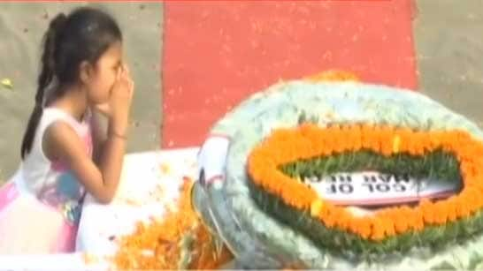 6-year-old daughter of martyred jawan pays tribute