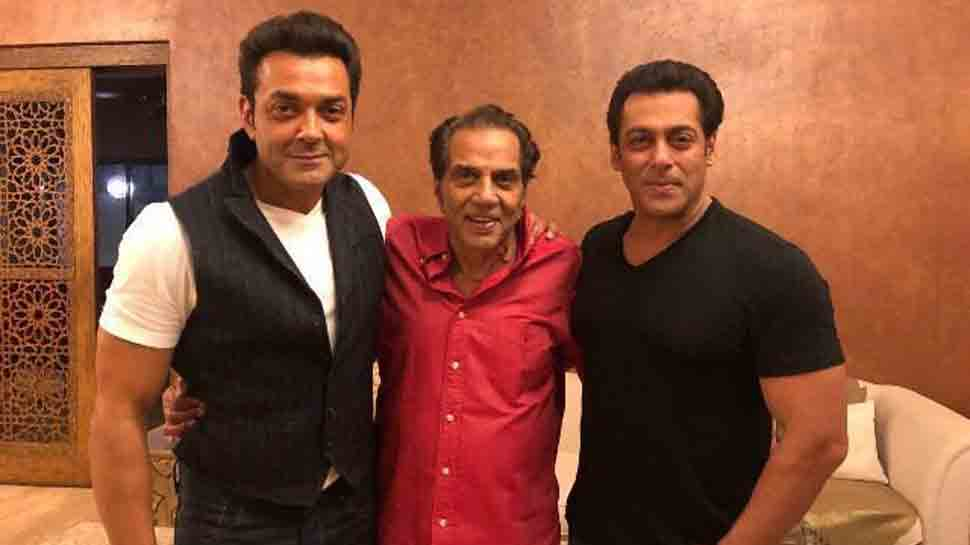 Salman Khan shares photo with Dharmendra, Bobby Deol with hilarious 'Race 3' meme zinger
