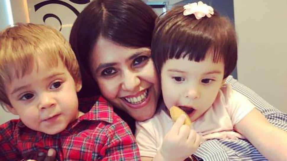 Ekta Kapoor shows some 'Bua' love to Karan Johar's twins Yash and Roohi-See pic
