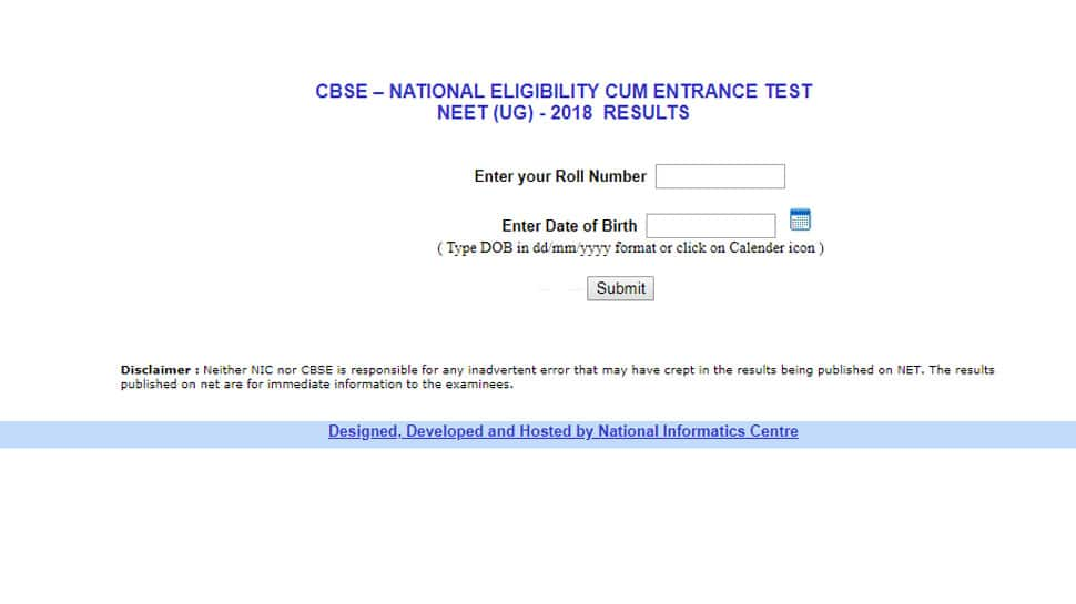 CBSE NEET UG Result 2018 declared at Cbseresults.nic.in: Steps to check results