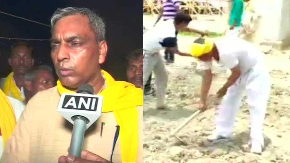 'Miffed' UP minister Om Prakash Rajbhar himself repairs road after authorities ignore his pleas