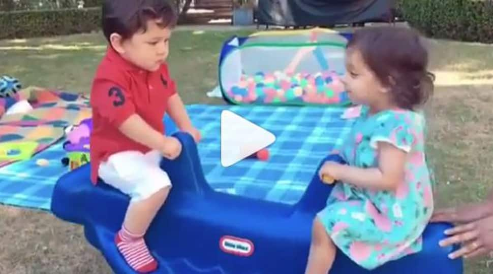 A video of Taimur Ali Khan see-sawing with Rannvijay Singha's daughter is going viral on social media-Watch