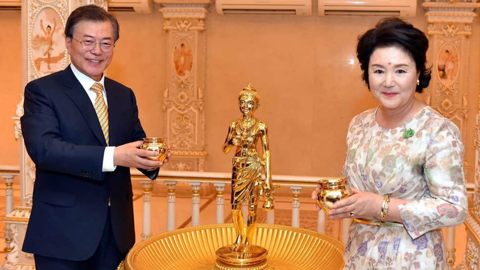 South Korean President Moon Jae-in visit Akshardham Temple