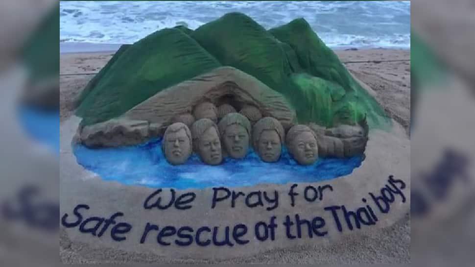 Sudarshan Pattnaik prays for stranded Thai team through sand art - In pics