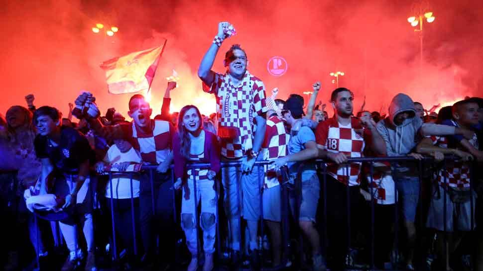 Ecstatic Croatian fans celebrate FIFA World Cup semifinal win over England