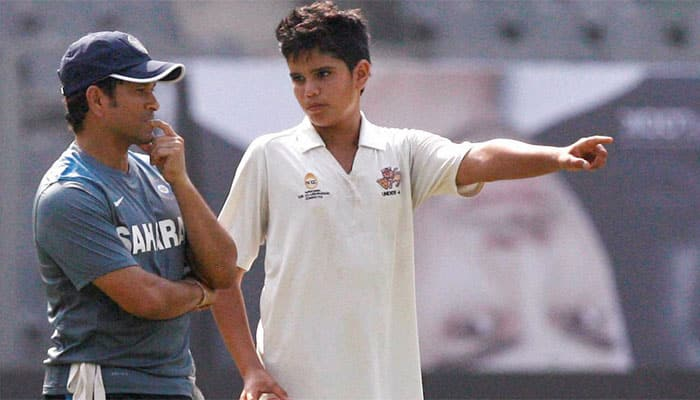 Arjun Tendulkar traps RVPK Mishara lbw to take his maiden wicket against foreign team