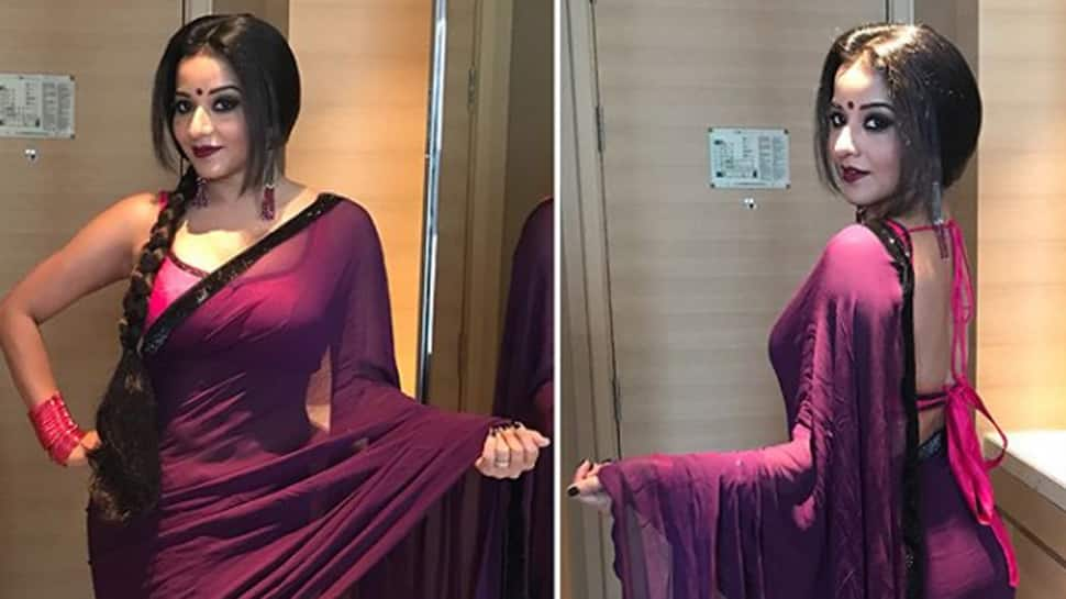 Monalisa slays with her sensual pics in purple saree — Check out her latest photo