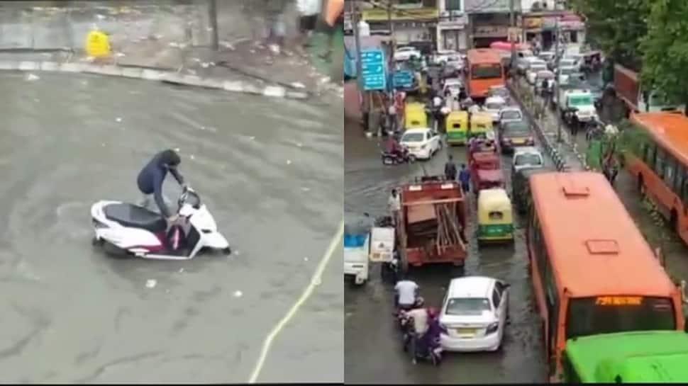 Traffic crawls after heavy rain lashes Delhi