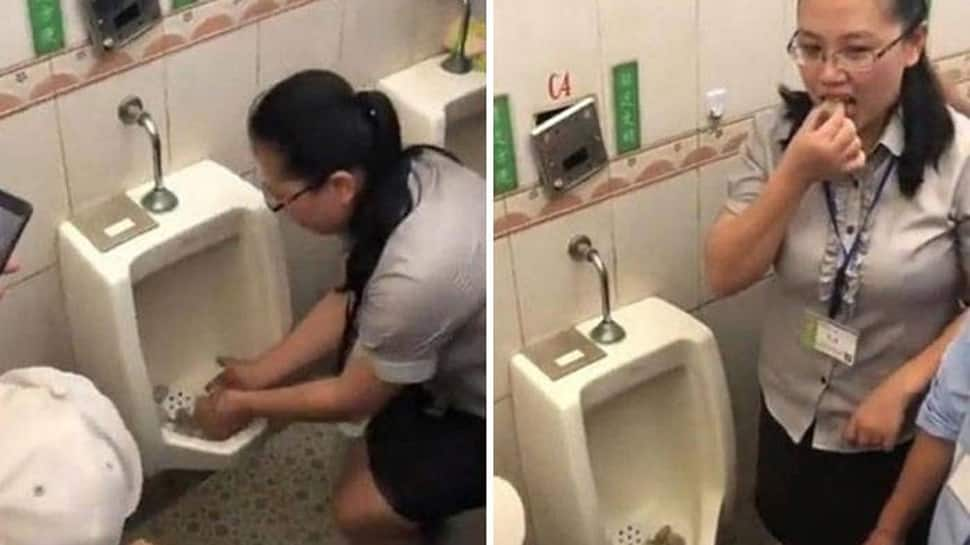 Vomit-inducing video shows woman eating rice balls after mixing it in urinal in China - Watch