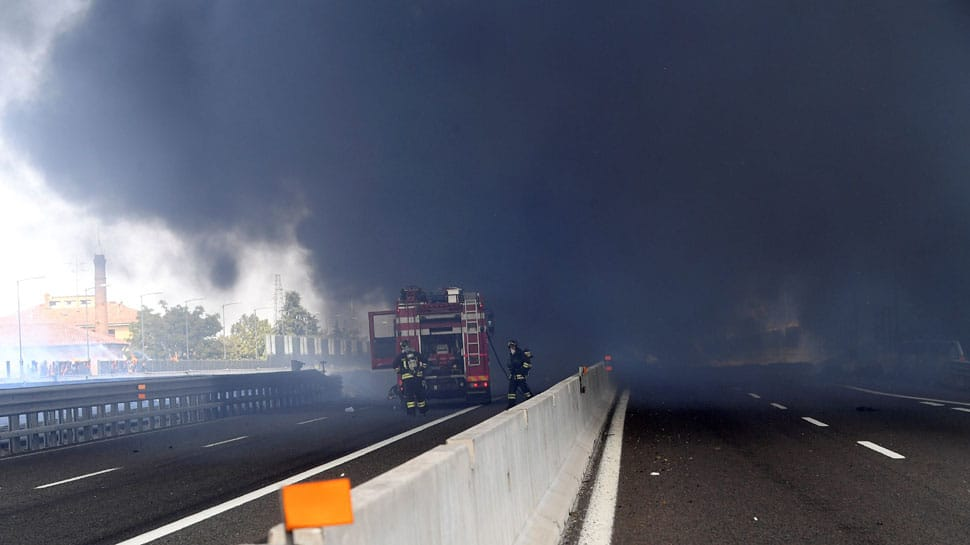 Explosion causes fire near Italy's Bologna Airport