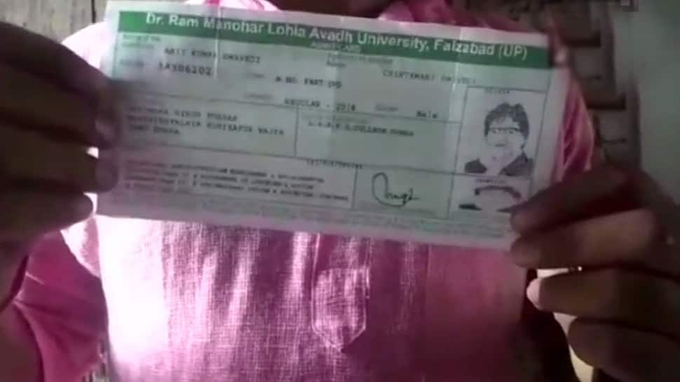 Admit card with photograph of Amitabh Bachchan issued by UP university