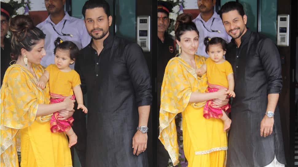Soha Ali Khan, daughter Inaaya Naumi Kemmu go twinning in yellow for Ganpati celebrations—See inside