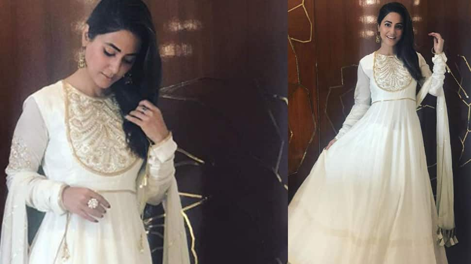 Hina Khan looks graceful in a white Anarkali suit—See pics