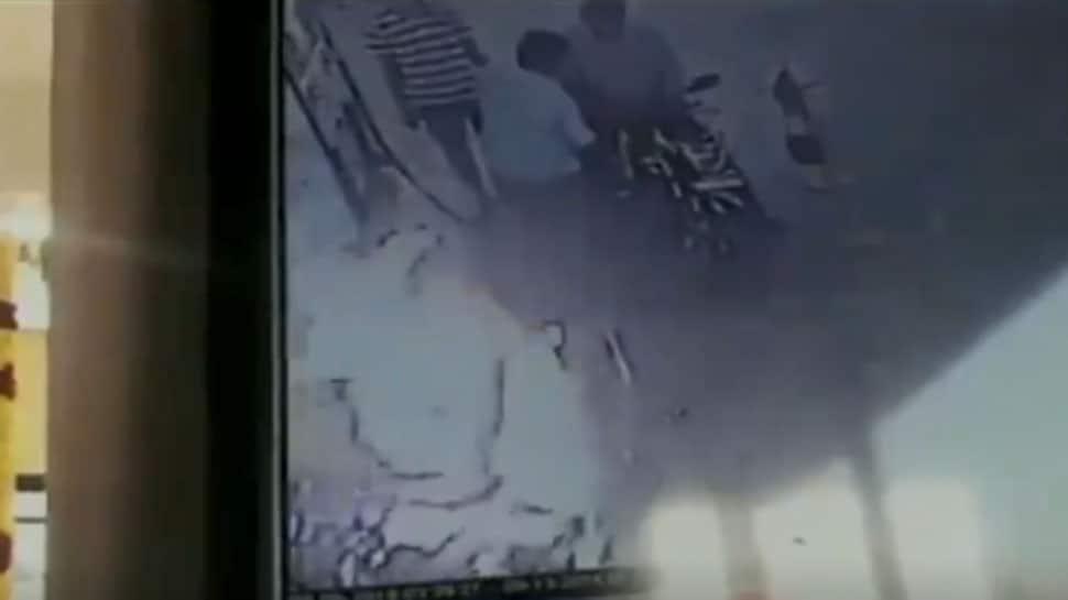 Watch: Bike catches fire at petrol pump, man sustains burn injuries