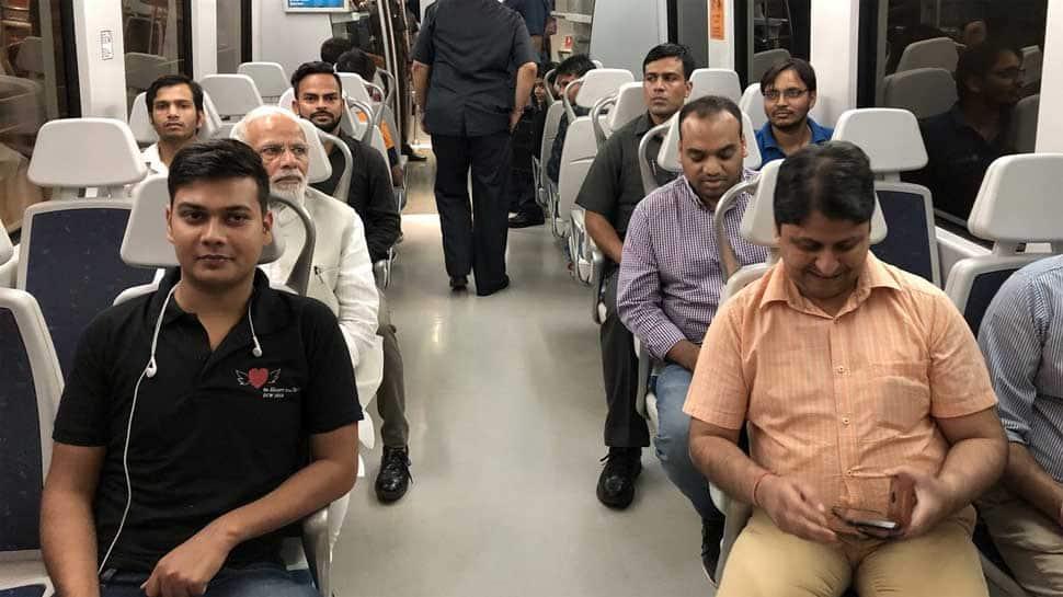 PM Modi boards Delhi Metro to travel from Dhaula Kuan to Dwarka
