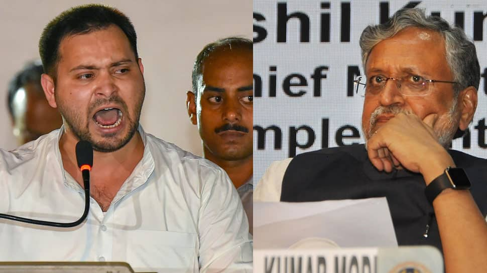 Sushil Modi shamelessly begging criminals with folded hands: Tejashwi Yadav
